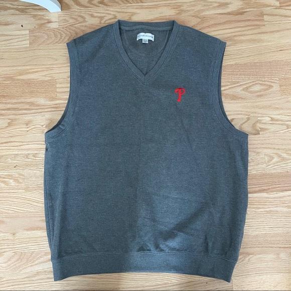 Phillies Sweater Vest V-neck Gray Red Men's Sz XL